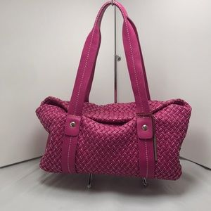 Elliot Lucca Pink Leather Woven Shoulder-bag.